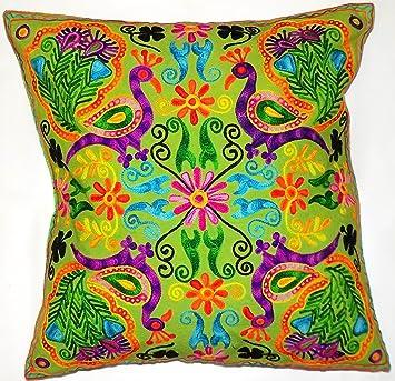 Flores Hojas Verdes Rangoli Mandala Multi Color funda cojín ...