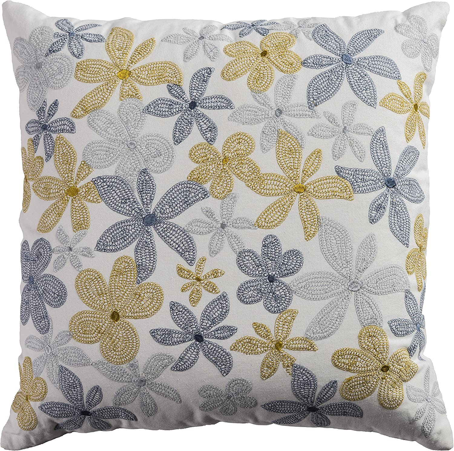 Rizzy Home One of a Kind Floral Decorative Pillow, Ivory