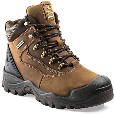 f0659786689 Buckler BSH002BR Waterproof Anti-Scuff Safety Work Boots Brown (Sizes 6-13)  Mens Trade Steel Toe Cap Shoes