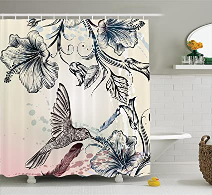 Ambesonne Hummingbirds Decorations Shower Curtain Set, Floral Art In  Vintage Style With Hummingbird Hibiscus Flowers