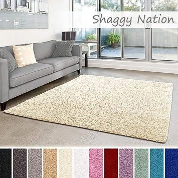 Shaggy-Teppich | Flauschiger Hochflor fürs Wohnzimmer, Schlafzimmer oder  Kinderzimmer | einfarbig, schadstoffgeprüft, allergikergeeignet in Farbe:  ...