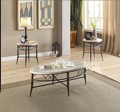 ACME Furniture 3Pc Pk Coffee End Set, Faux Marble