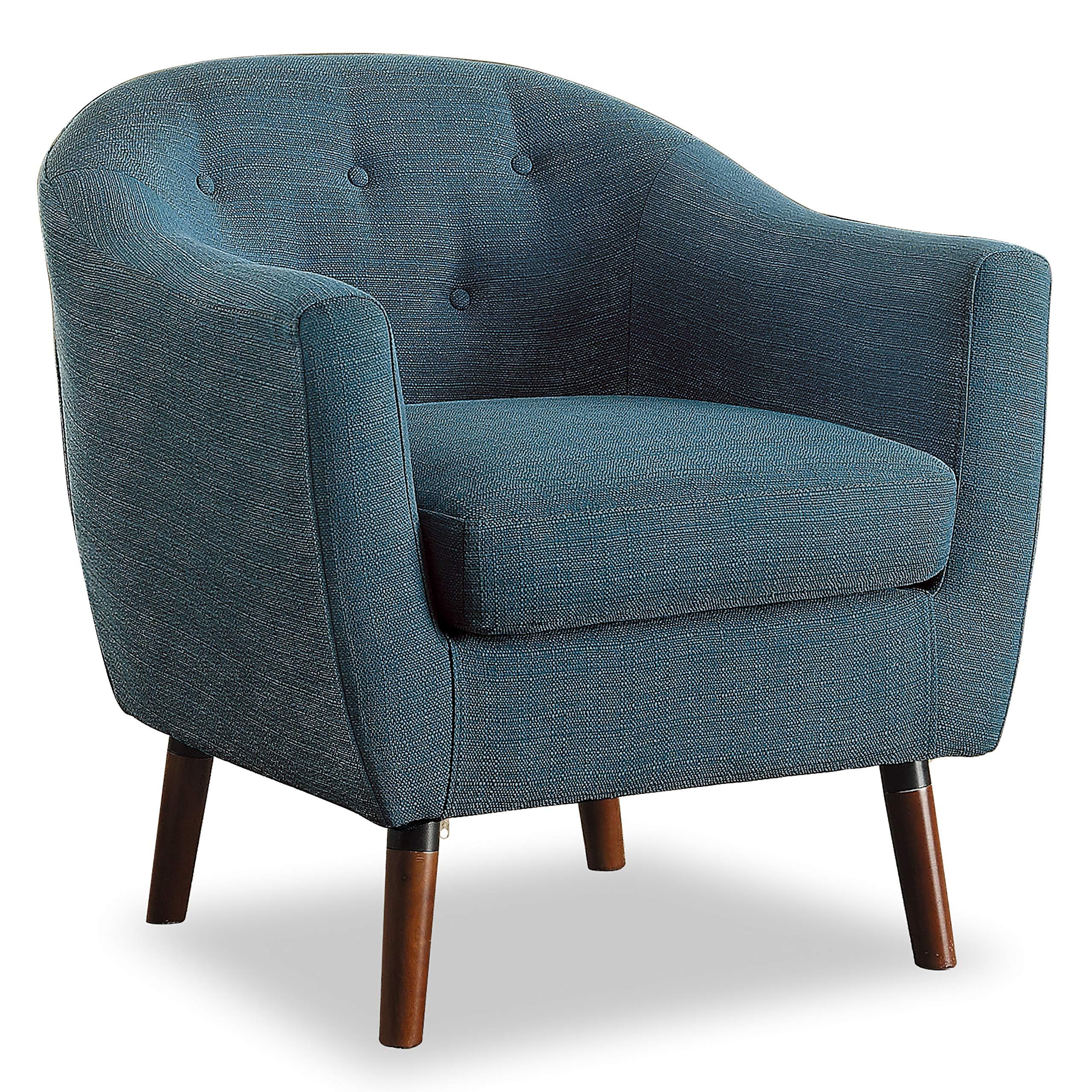 Homelegance Lucille Fabric Barrel Chair, Blue by Homelegance