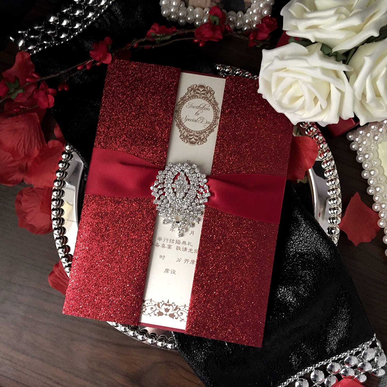 Amazon.com: Red Wedding Invitations, Bridal Shower Invitation, Luxury  Wedding Invitation with Red Ribbon - Set of 30: Health & Personal Care