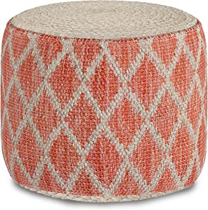 SIMPLIHOME Edgeley Round Pouf, Footstool, Upholstered in Coral, Natural Woven Braided Jute and Cotton, for the Living Room, Bedroom and Kids Room, Boho, Contemporary, Modern