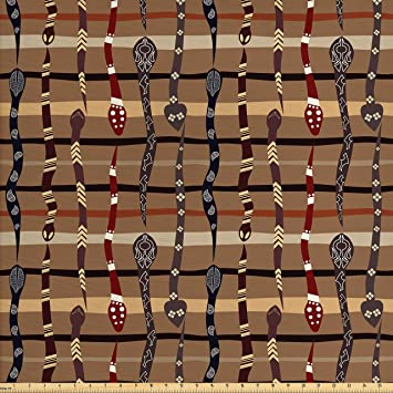 Amazon Com Ambesonne Tribal Fabric By The Yard Native American