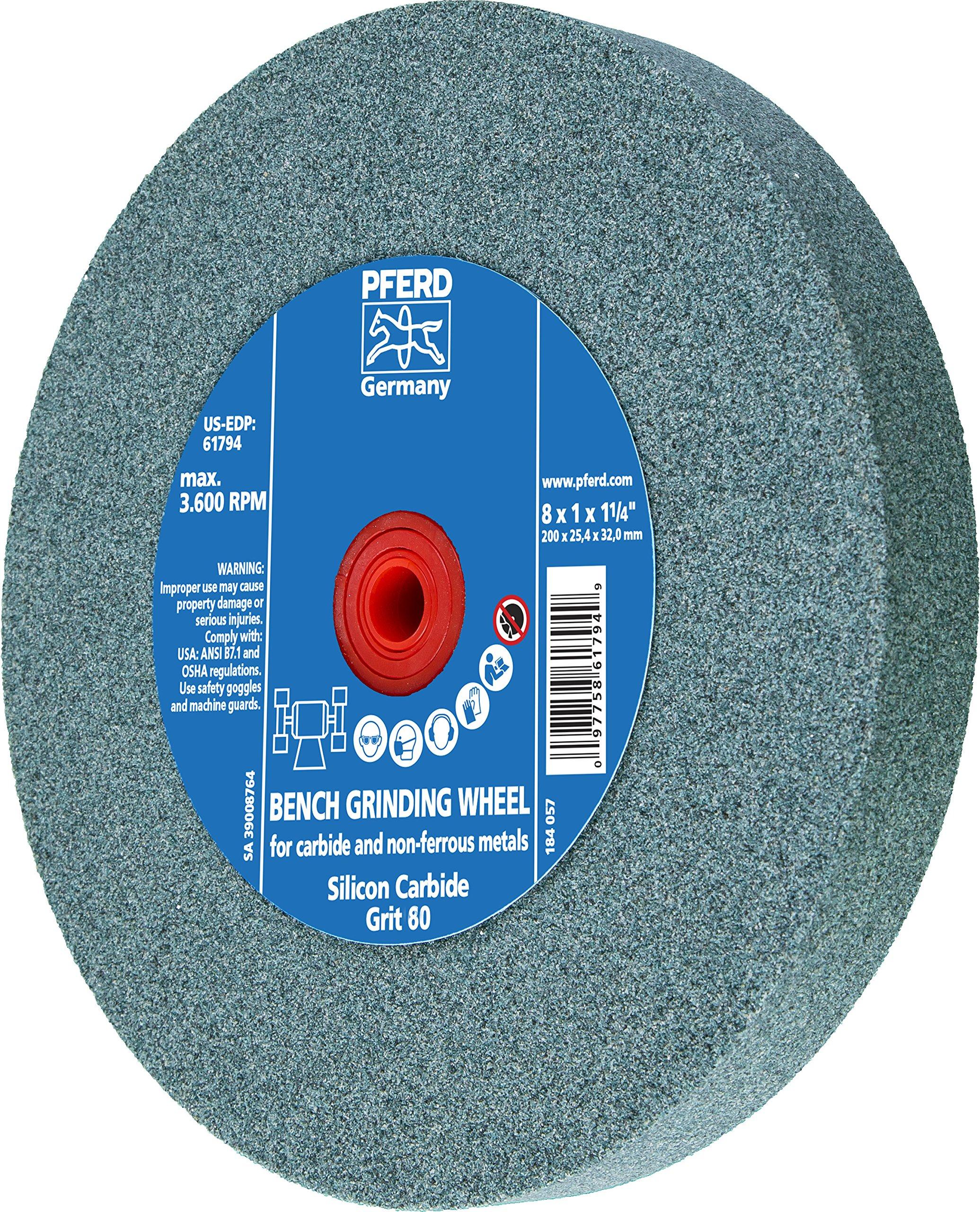 PFERD 61795 Bench Grinding Wheel, Silicon Carbide, 8'' Diameter, 1'' Thick, 1-1/4'' Arbor Hole, 80 Grit, 3600 Maximum RPM by Pferd