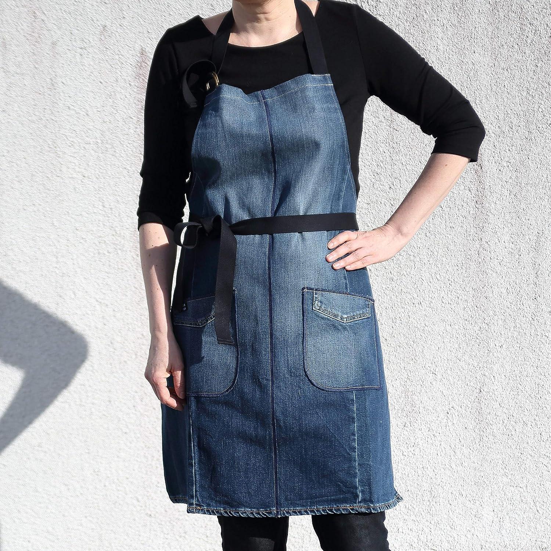 Blau Handgefertigte Jeanssch/ürze aus Recycelten Jeans