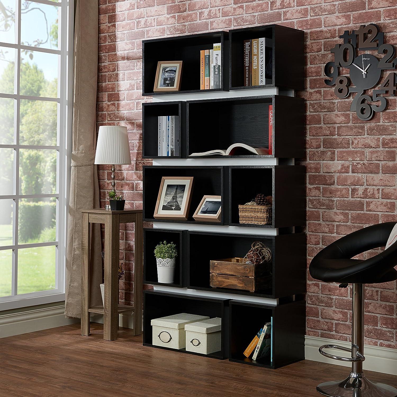 ioHOMES Modern Hamble Bookshelf, Black and White