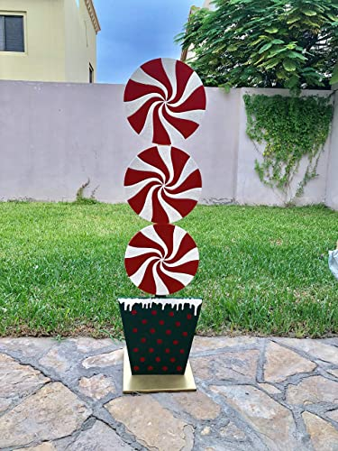 peppermint christmas stand made from wood outdoor or indoor christmas decoration