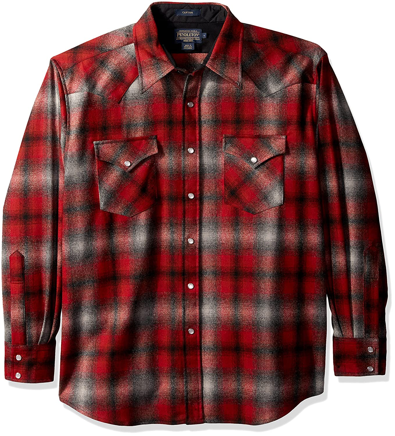 Pendleton メンズ長袖キャニオンシャツ B01N9TTVZY L|Red/Grey Ombre-31948 Red/Grey Ombre-31948 L