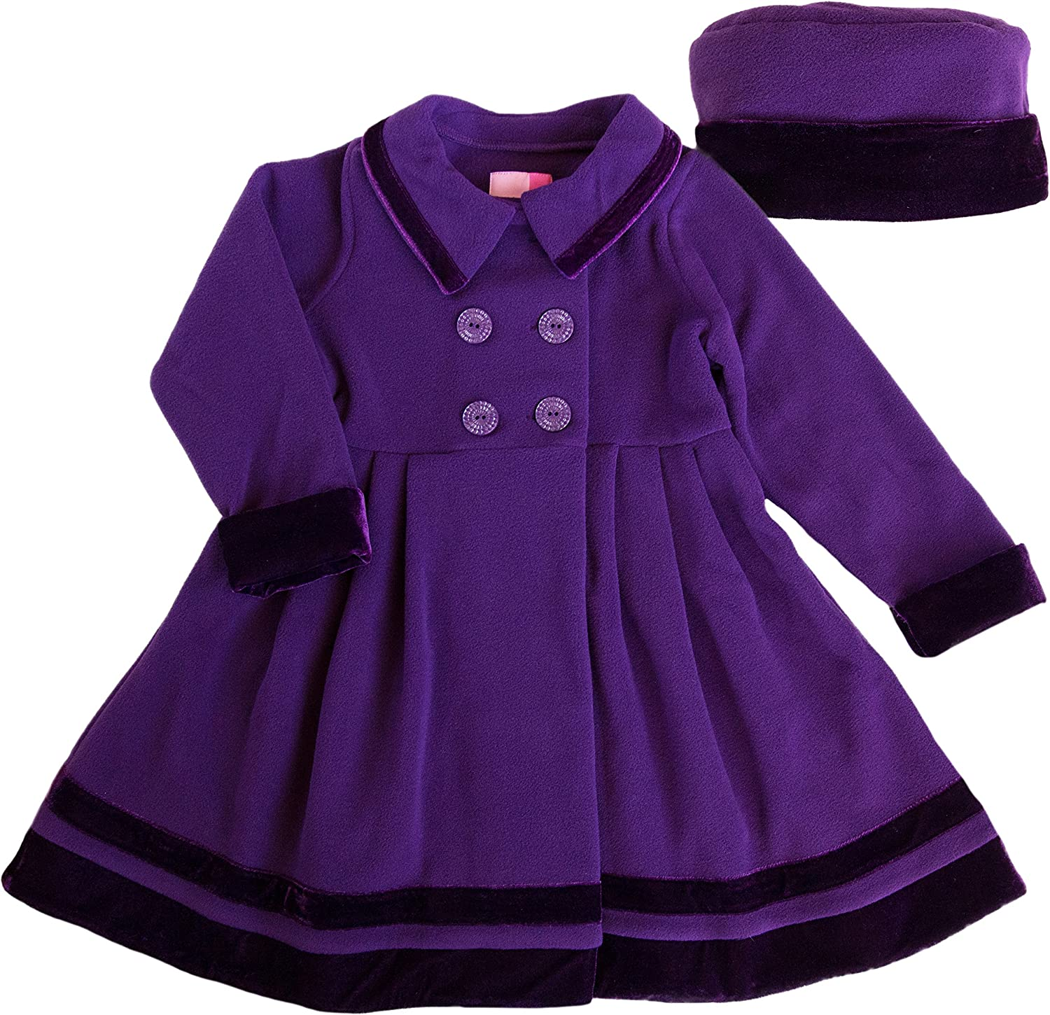 Good Lad 2//6X Girls Double Breasted Jewel Tone Fleece Coat with Velvet Trim and Matching Hat