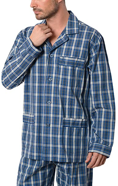 Pijama de Caballero Largo clásico a Cuadros/Ropa de Dormir para Hombre - Tela Popelín