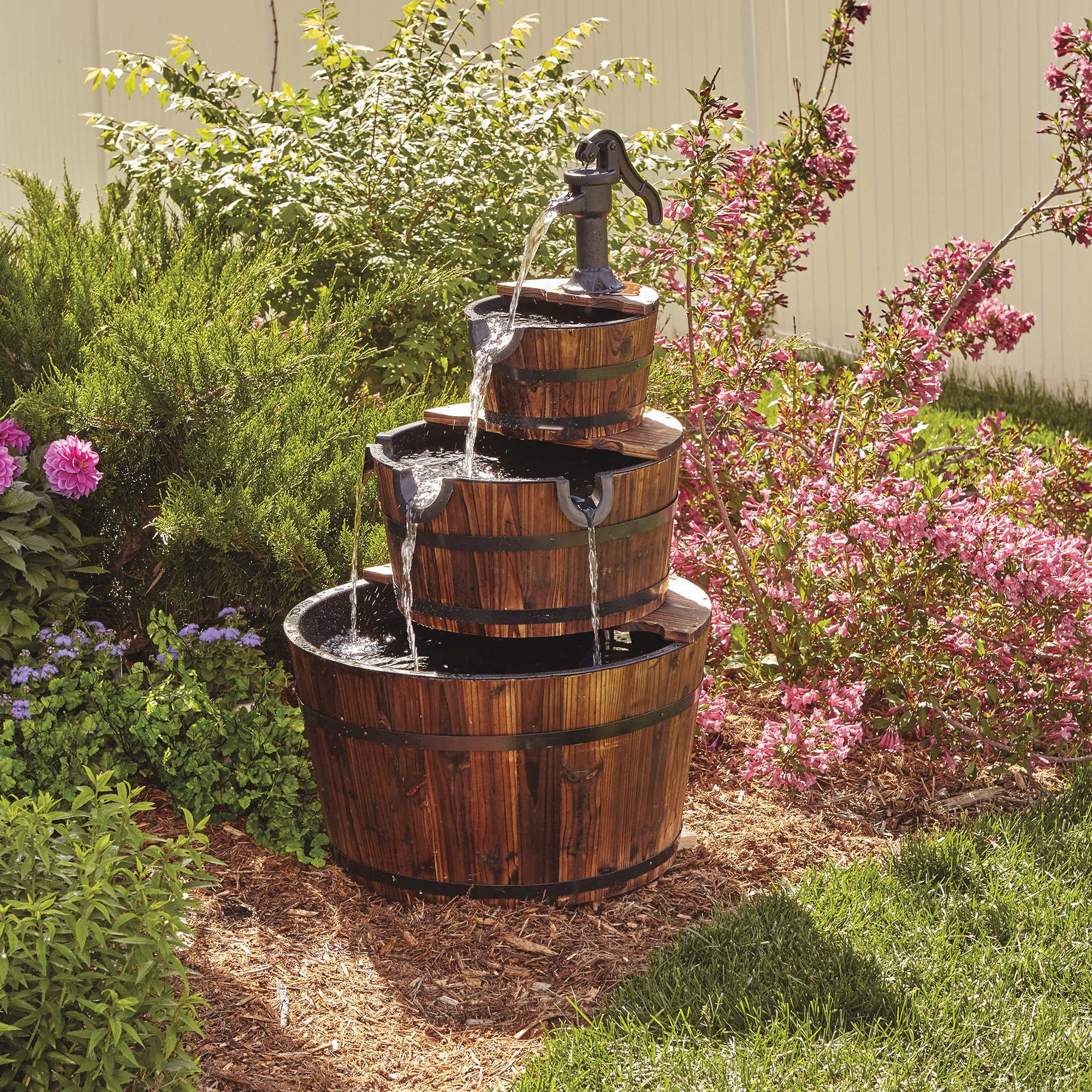 3-Tier Wooden Water Fountain with Pump