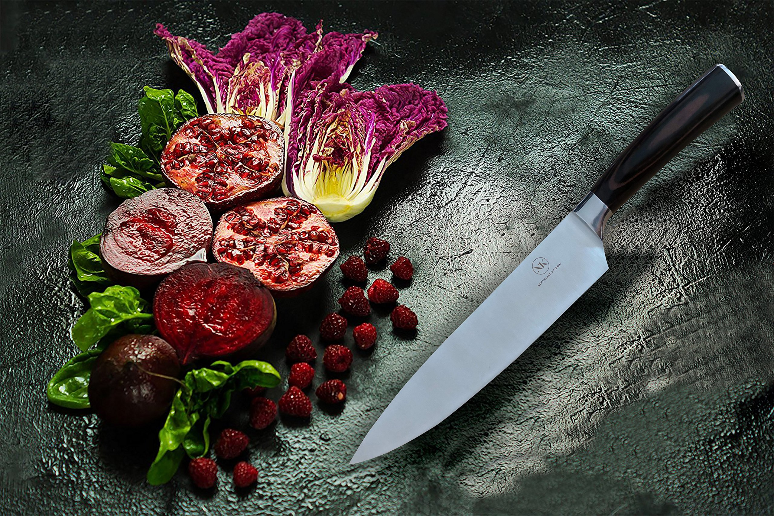 Chef's Knife by Northland Kitchen - Professional 8 inch Stainless Steel Blade with Wood Handle - Ergonomic and Sharp - Well Balanced and Weighted - High Carbon Steel - For Home and Restaurant by Northland Kitchen (Image #7)