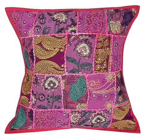 Bordado y diseño de Patchwork algodón manta funda para cojín ...