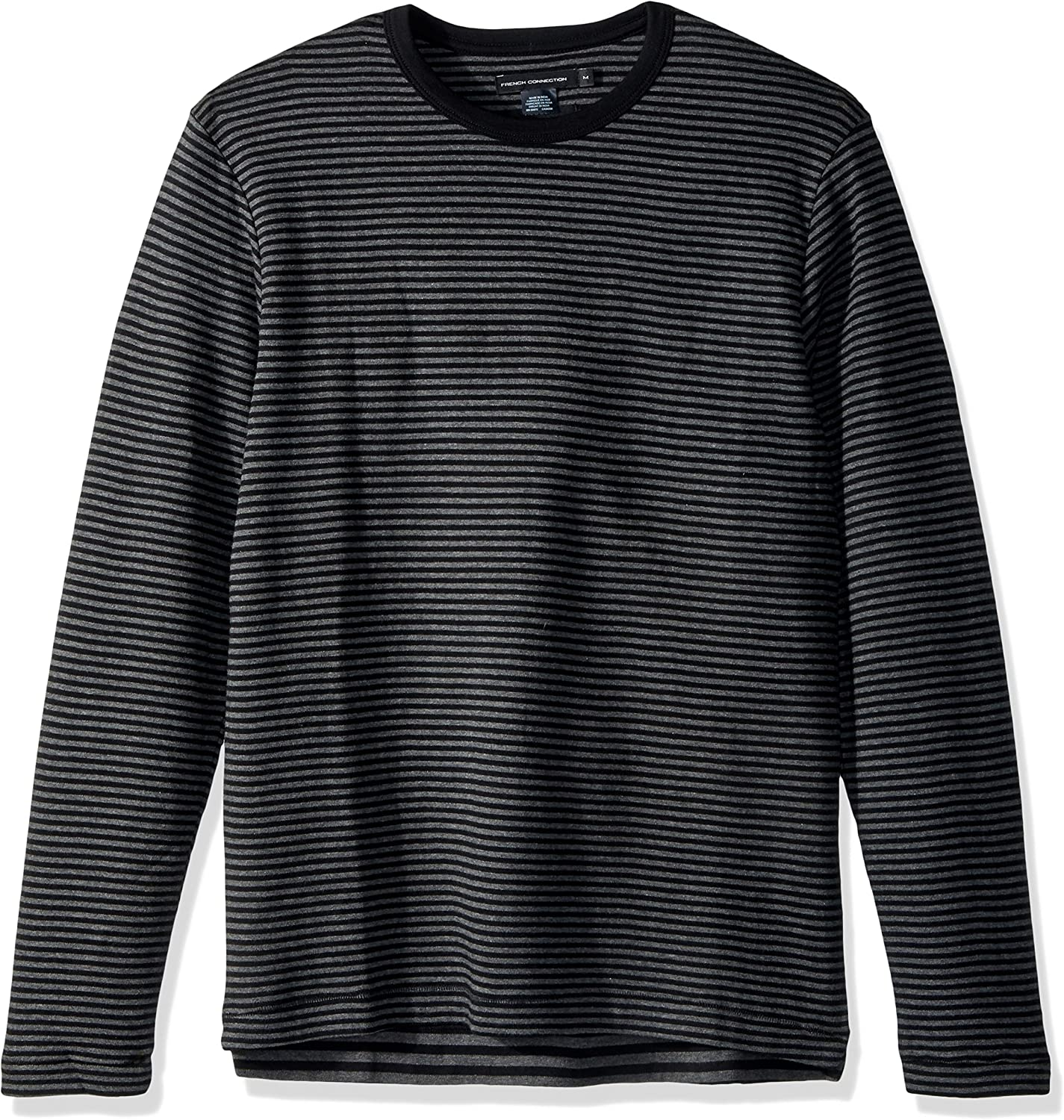 French Connection Mens Double Face Alternative Stripe Longsleeve Tee