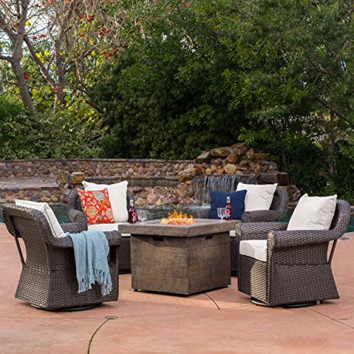 Augusta Patio Furniture 5 Piece Outdoor Wicker Swivel Rocker and Propane Gas Fire Table Pit Set