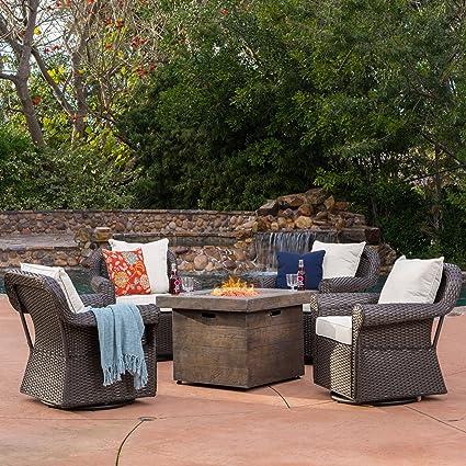 Augusta Patio Furniture ~ 5 Piece Outdoor Wicker Swivel Rocker And Propane  (Gas) Fire
