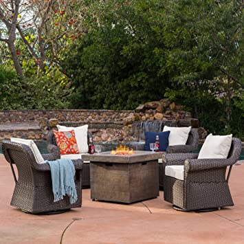 amazon com augusta patio furniture 5 piece outdoor wicker swivel