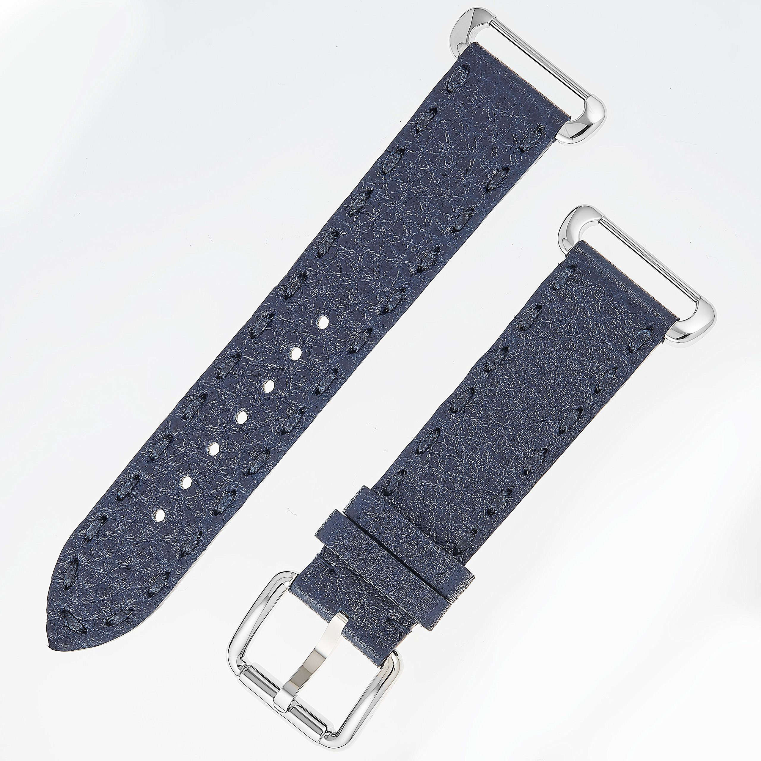 Fendi Selleria Interchangeable Replacement Watch Band - 18mm Dark Blue Calfskin Leather Strap with Pin Buckle SSN18R03S