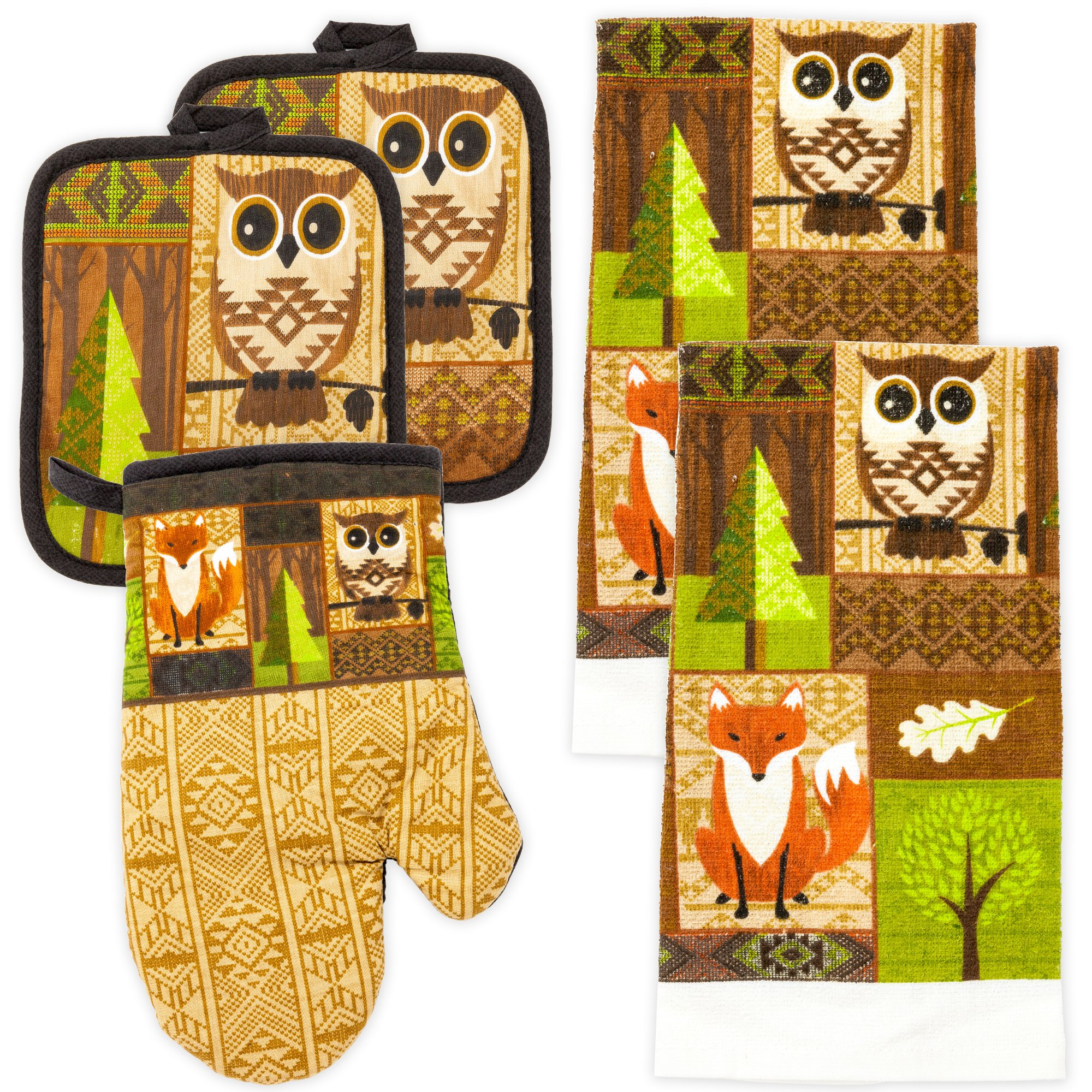 MJM Innovations Kitchen Towel Linen Set of 5 Pieces   2 Kitchen Towels 2 Potholders & 1 Oven Mitten   Featuring Brown Owls, Fox, Pine Leaves, Mosaic Design Patterns Decor (Brown Owls).