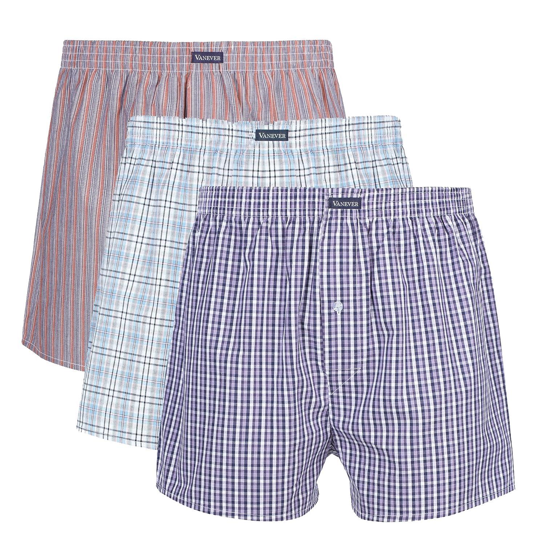 Vanever 3 PK Men's Woven Boxers, 100% Cotton Boxer Shorts for Men, Boxershorts with Button Fly, Underwear