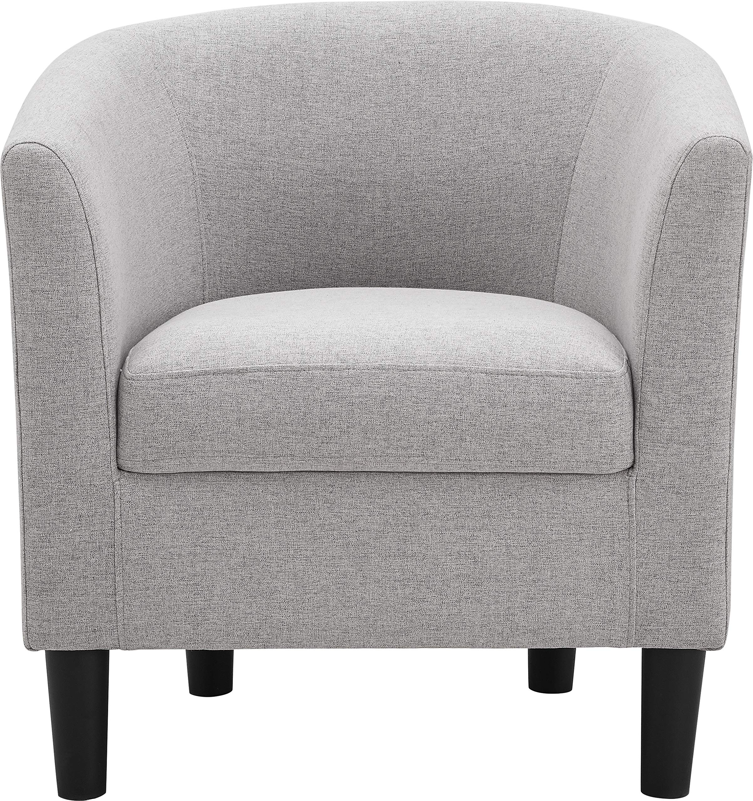 Dazone Modern Accent Chair Upholstered Comfy Arm Chair Linen Fabric Single Sofa Chair with Ottoman Foot Rest Grey - ☃【Ergonomically Designed】A sofa furniture chairs with solid wood legs, this Upholstered Armchair promotes comfort and assists with maintaining a healthy posture for your single upholstered chairs. ☃【Upholstered Seat & Easy to Clean】This Modern Comfy chair for living room is with a soft Linen-Like fabric upholstery and removable cushion for hassle-free.Easy to clean. ☃【Armchair with Ottoman】This living room chair comes completely with a matching ottoman and it is perfect for kicking your feet up to relax after a long day and is great for reading, working on your laptop, watching TV, or napping - living-room-furniture, living-room, accent-chairs - A1 BcOF0SHL -