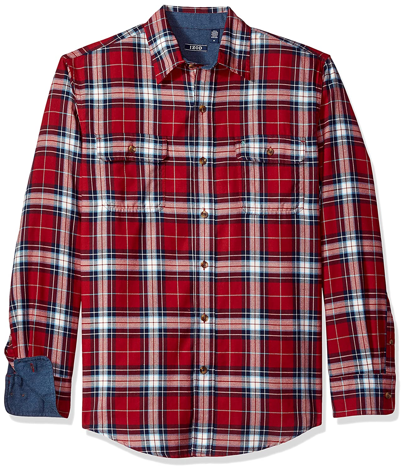 Izod Men's Long Sleeve Saltwater Twill Easy-Care Plaid Shirt 82FW606