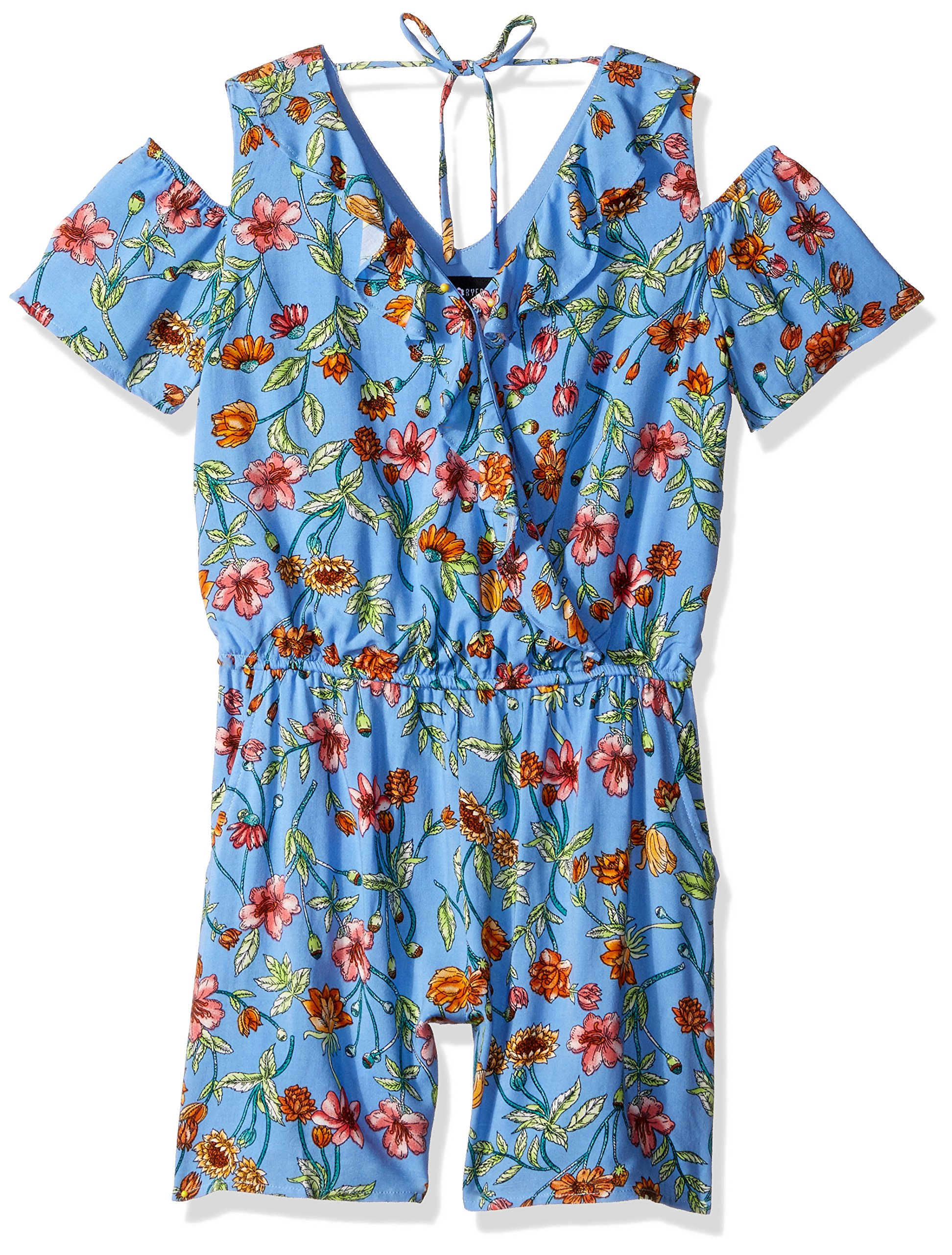 Amy Byer Big Girls' Cold-Shoulder V-Neck Romper, Yellow/Blue Daisy Mixed Floral, S