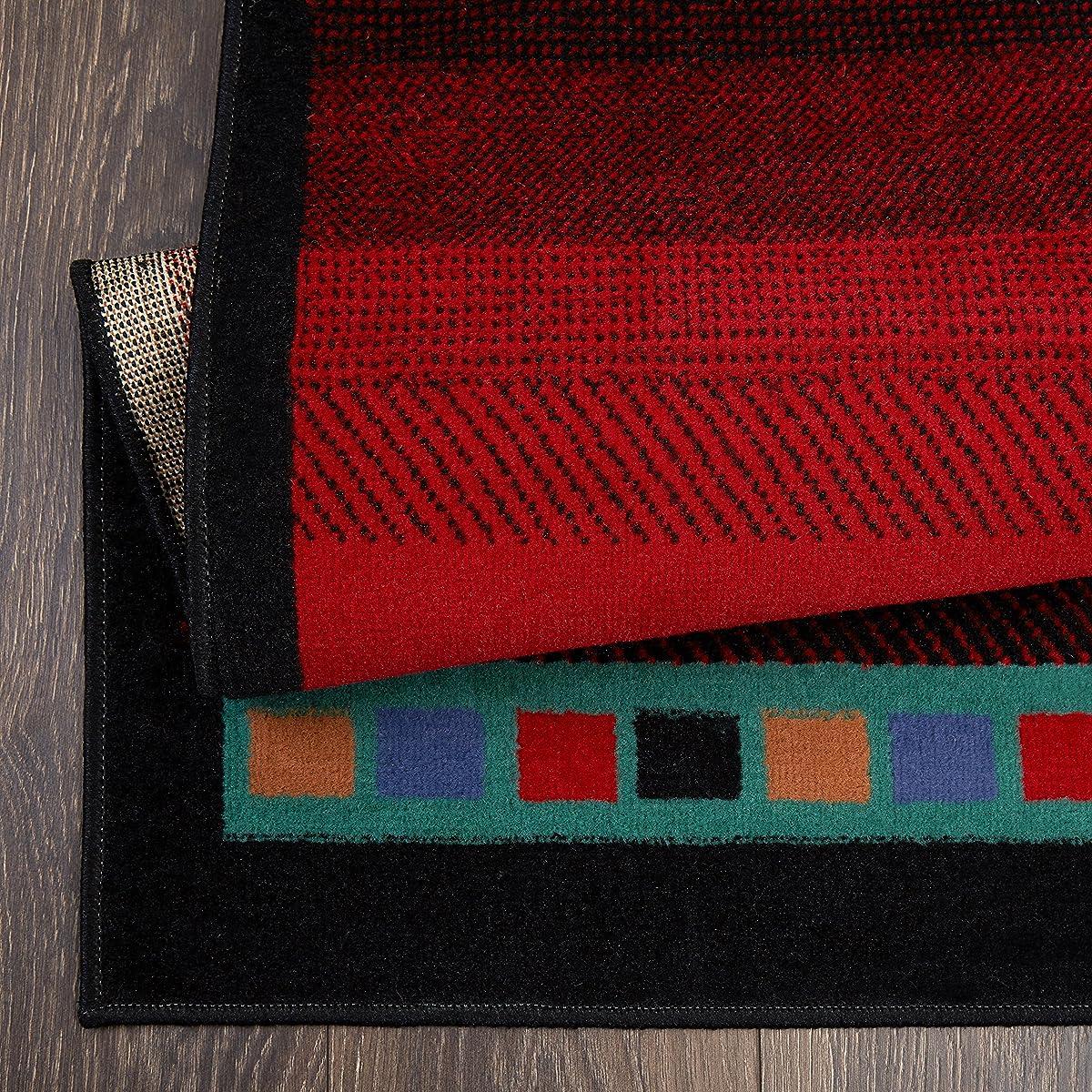 "Home Dynamix Premium Sagrada Area Rug by Modern Southwestern Style Living Room Rug | Bold Aztec Print | Black, Red, Multicolor Pattern 52"" x 74"""