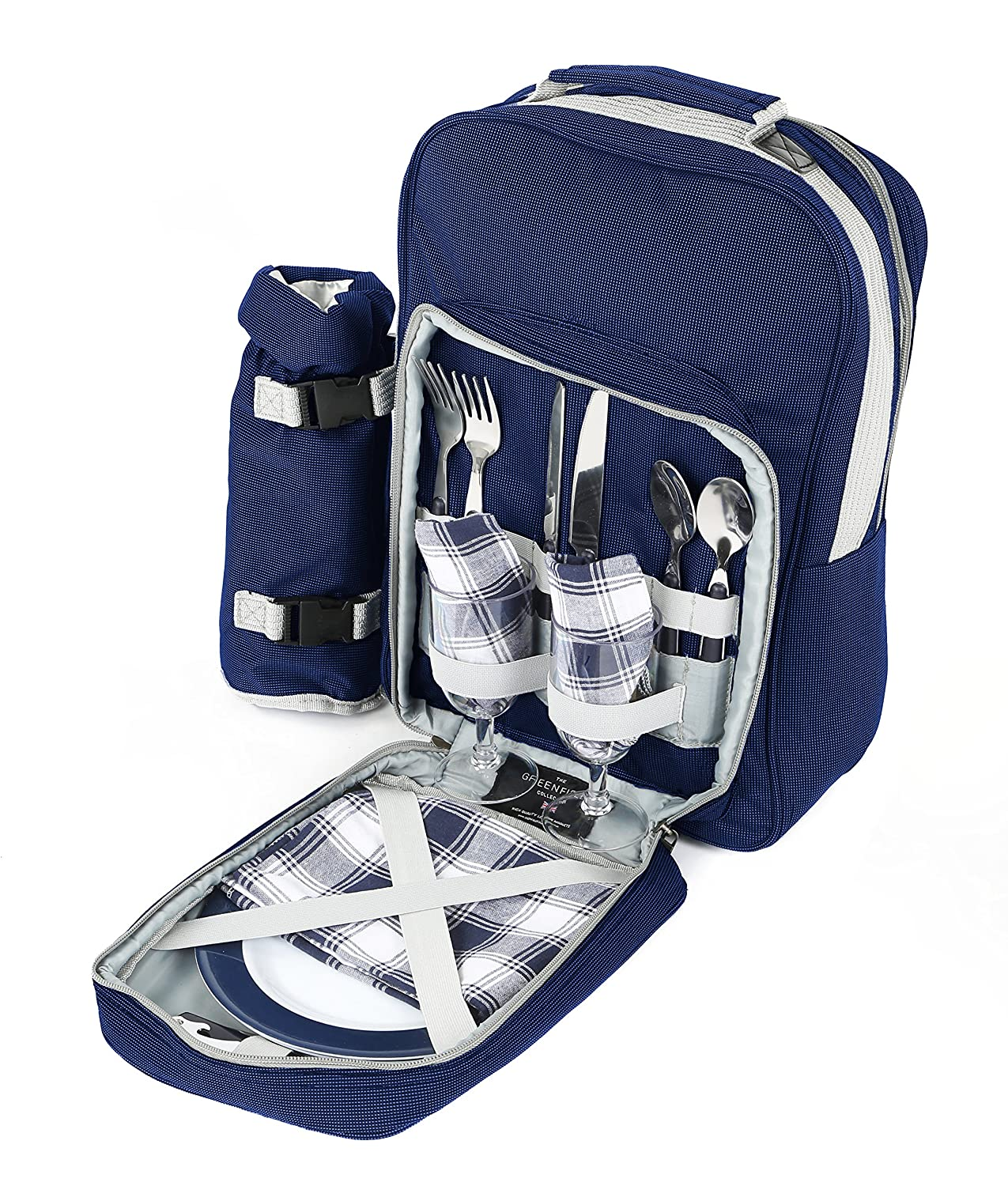 Greenfield Collection Luxury Navy Blue Picnic Backpack Hamper for Two People