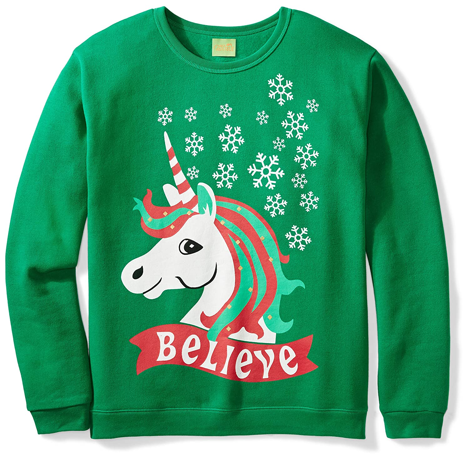 Ugly Fair Isle Unisex Fleece Believe Unicorn Crewneck Christmas Sweater MTX2203