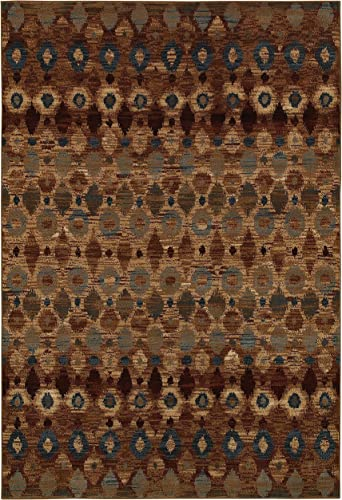 Rizzy Home Bellevue Collection Polypropylene Area Rug, 6 7 x 9 6 , Tan Camel Brown Blue Ikat