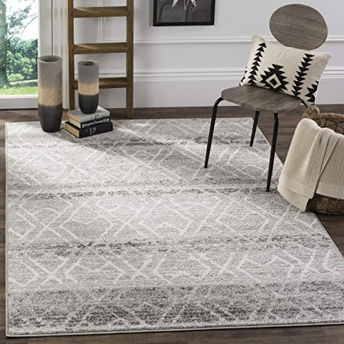 Safavieh Adirondack Collection ADR124B Silver and Ivory Vintage Geometric Area Rug 8 x 10