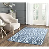 Safavieh Dhurries Collection DHU572A Hand Woven Dark Blue and Ivory Premium Wool Area Rug (3' x 5')
