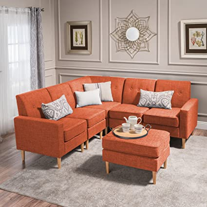 Christopher Knight Home 302728 6 Piece Sawyer Mid Century Modern Sectional  Sofa Set with Matching Ottoman, Muted Orange/Natural