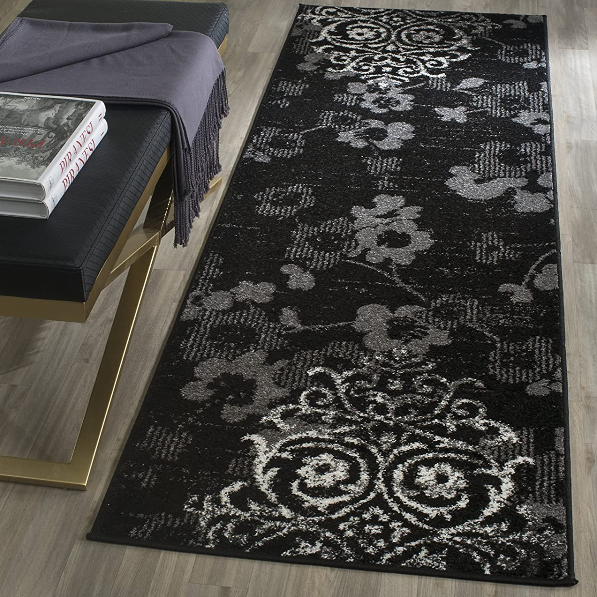 """Safavieh ADR114A-210 Adirondack Collection ADR114A Contemporary Chic Damask Runner, 26"""" x 10, Black/Silver"""