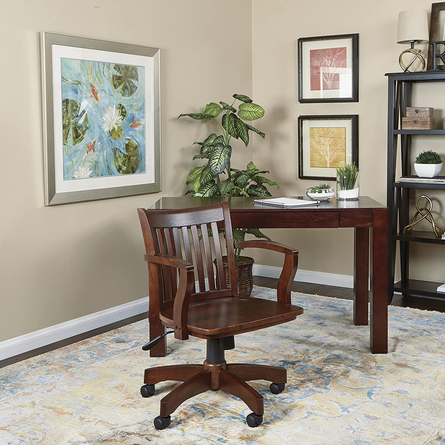 Amazon fice Star Deluxe Wood Bankers Desk Chair with Wood