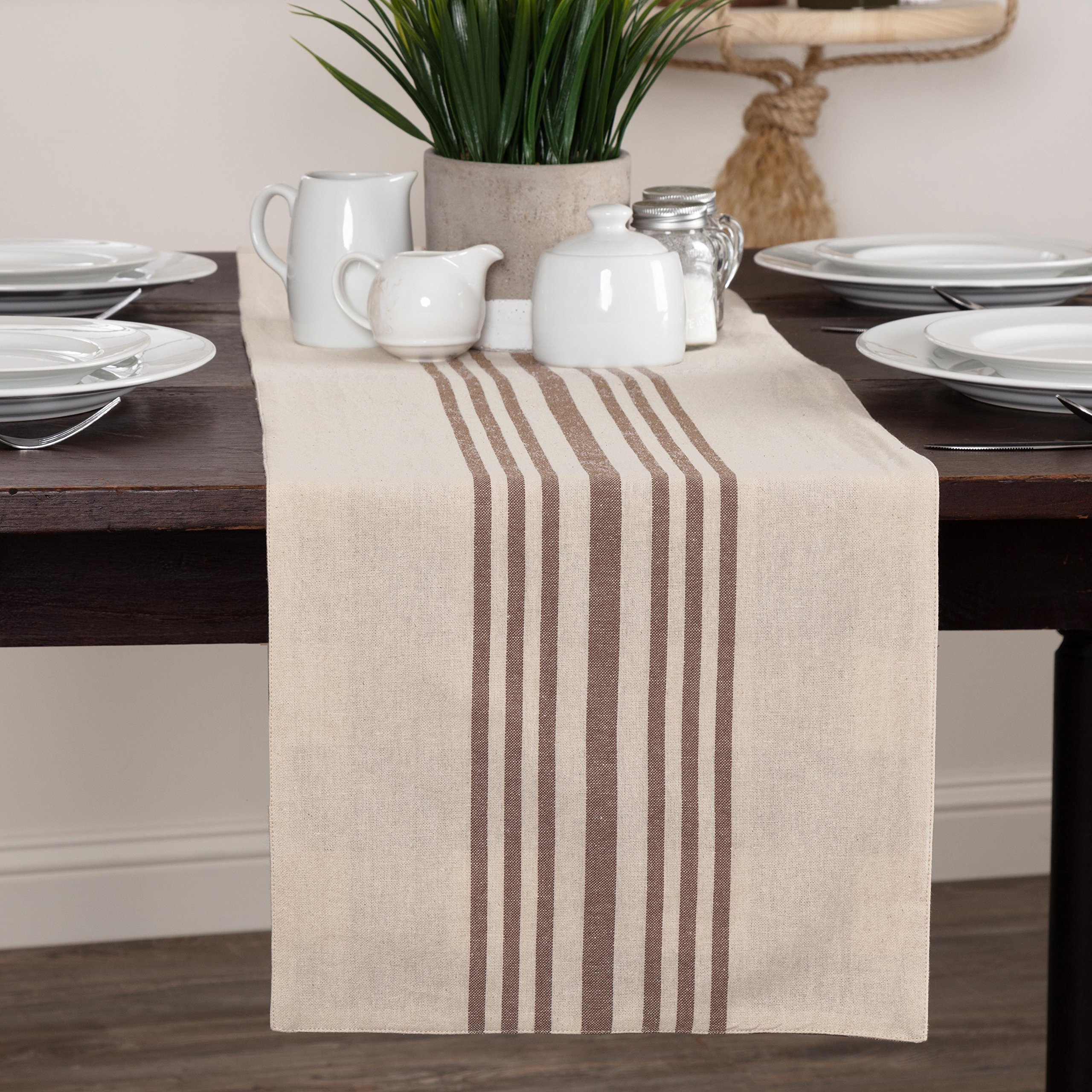 Piper Classics Dublin Stripe & Check Reversible Table Runner, 13'' x 36'', Country Farmhouse Kitchen & Dining Table Décor