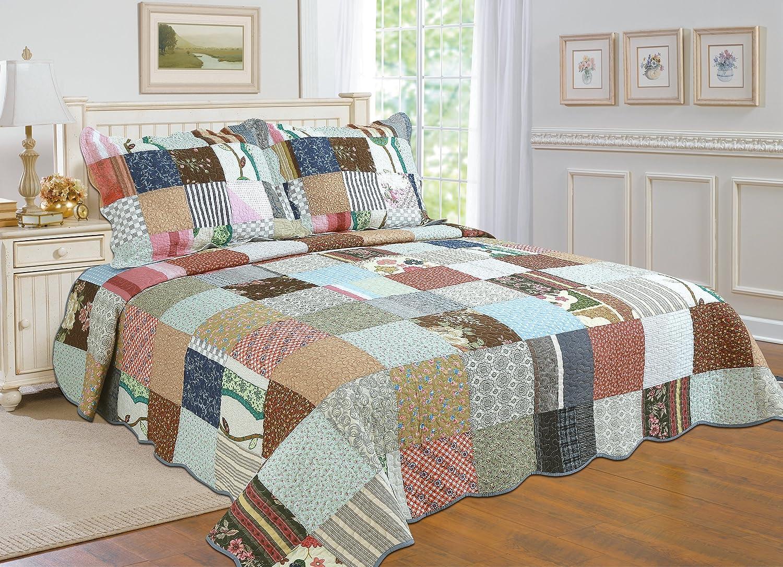 3-piece 100% COTTON Reversible Bedspread/ Coverlet / Quilt Set- OverSized