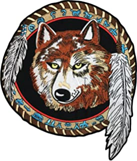Howling Wolf Indian Dream catcher Embroidered Biker Patch Medium FREE SHIP
