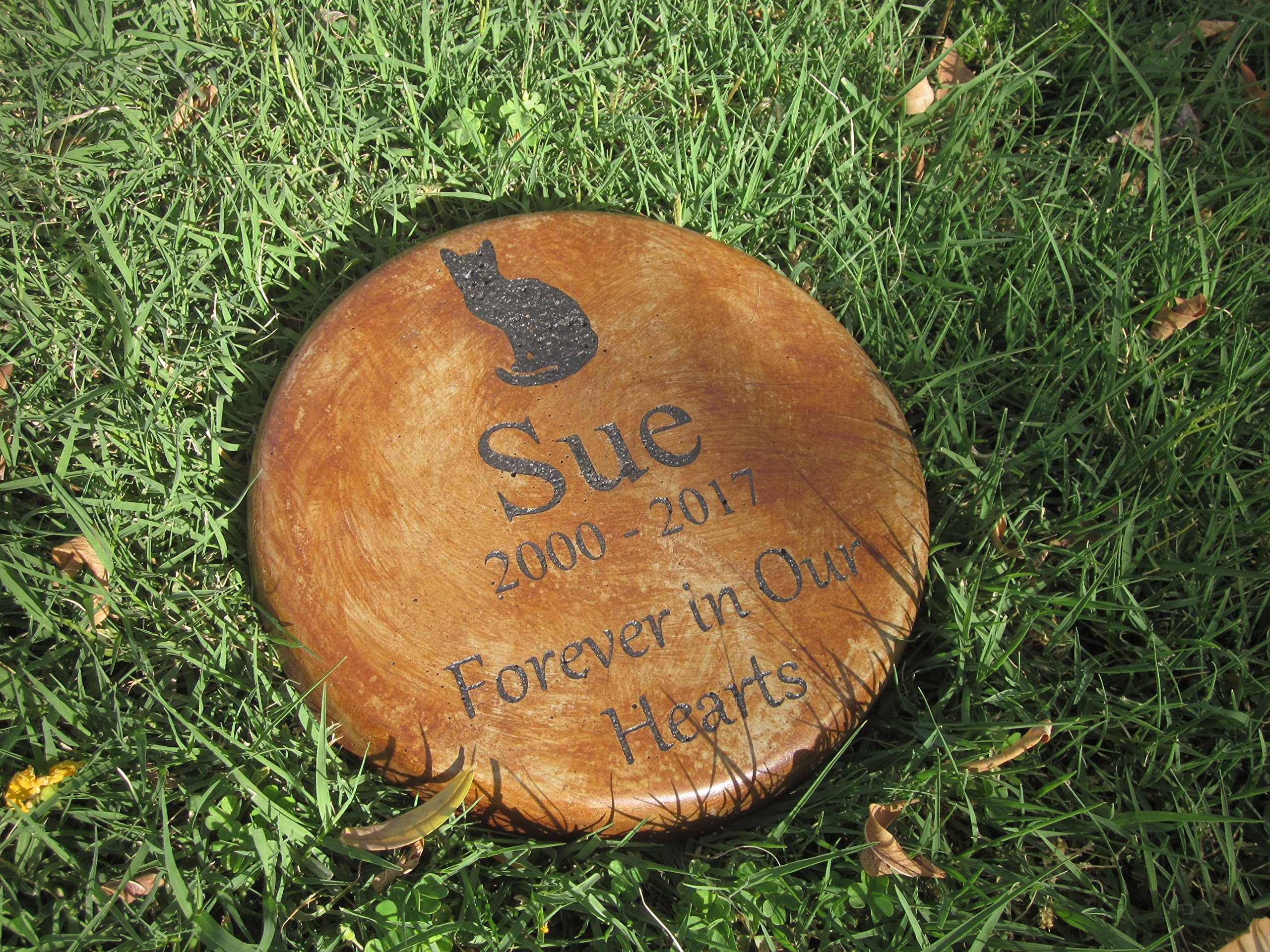 Personalized Engraved Pet Memorial Step Stone 7.5'' Diameter 'Forever in Our Hearts (cat) by Memories to Stone