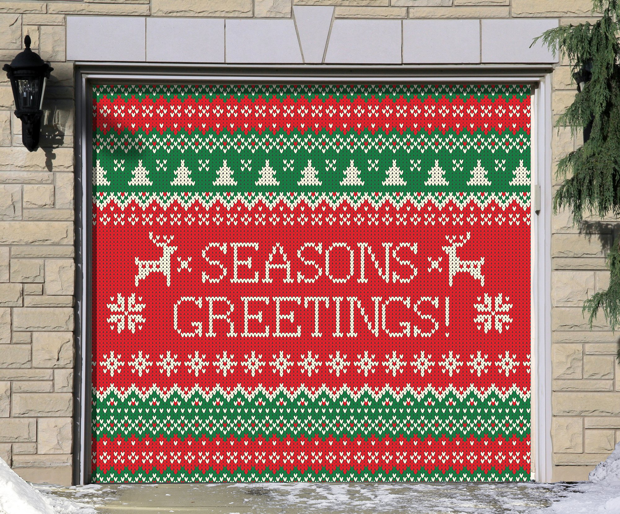 Outdoor Christmas Holiday Garage Door Banner Cover Mural Décoration - Ugly Christmas Sweater Seasons Greetings - Outdoor Christmas Holiday Garage Door Banner Décor Sign 7'x8'
