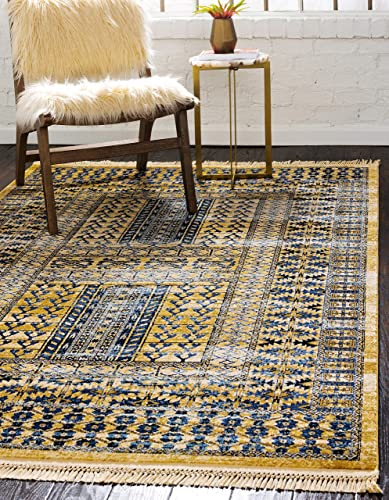 Unique Loom District Collection Abstract Over-Dyed Vintage Border Beige Area Rug 9' 0 x 12' 0