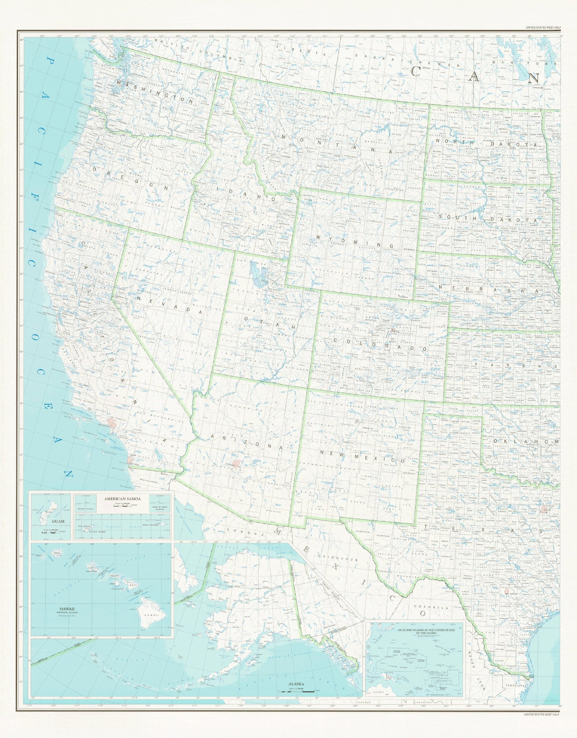 United States Map 2B Base Map (West Half, Dry Erase ...