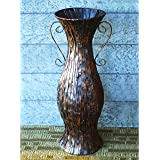 "36"" Large Designer Hand Crafted Rustic Brown Metal Floor Standing Decorative Urn / Flower Floor Vase"