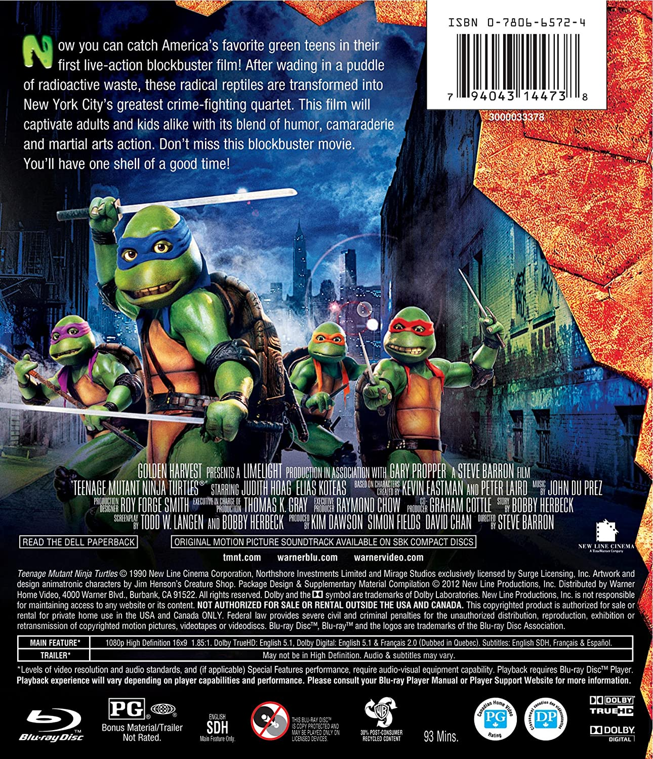 Teenage Mutant Ninja Turtles [Reino Unido] [Blu-ray]: Amazon ...