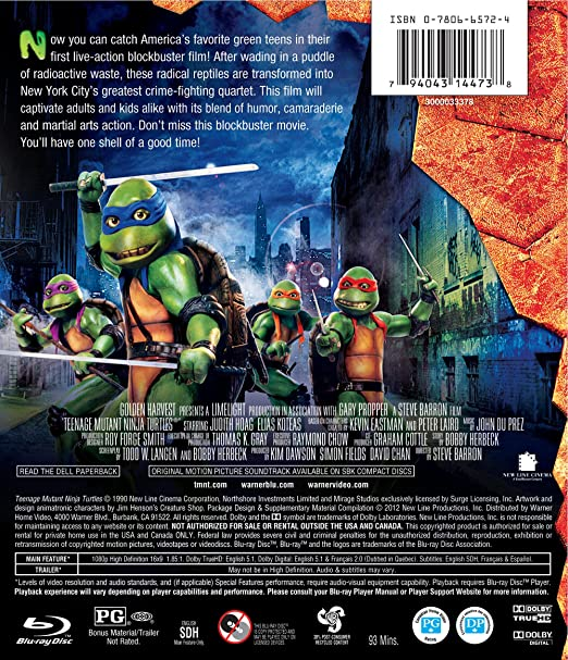 Amazon.com: Teenage Mutant Ninja Turtles (1990) (BD) [Blu ...