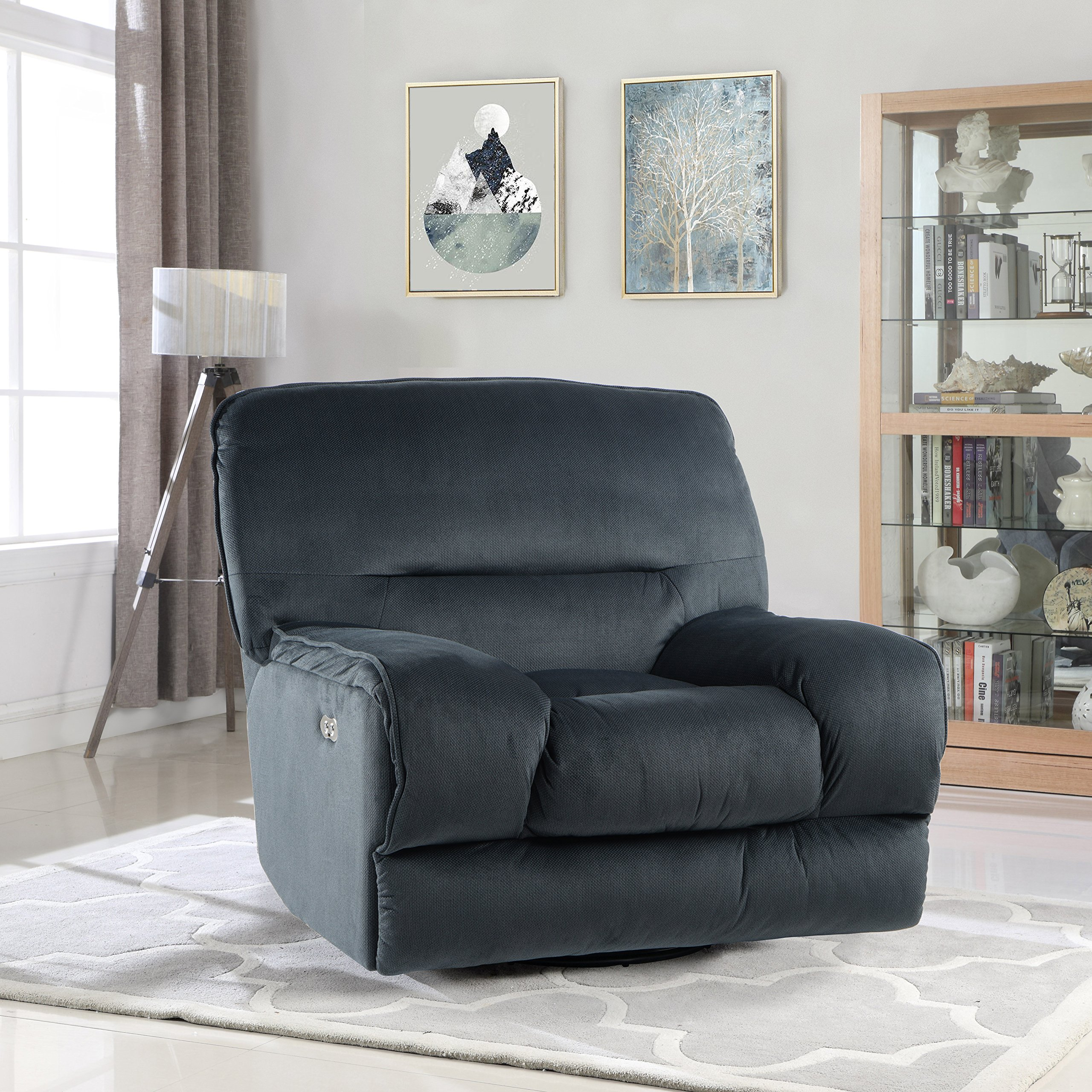Electric Oversize Linen Fabric Living Room Swivel Recliner Gaming Chair with USB Connection (Dark Blue)